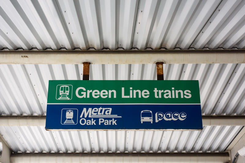 CTA Green Line trains from Oak Park, IL