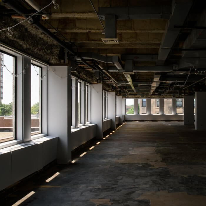 Raw office spaces ready to be customized at 1010 Lake Street, Downtown Oak Park, IL