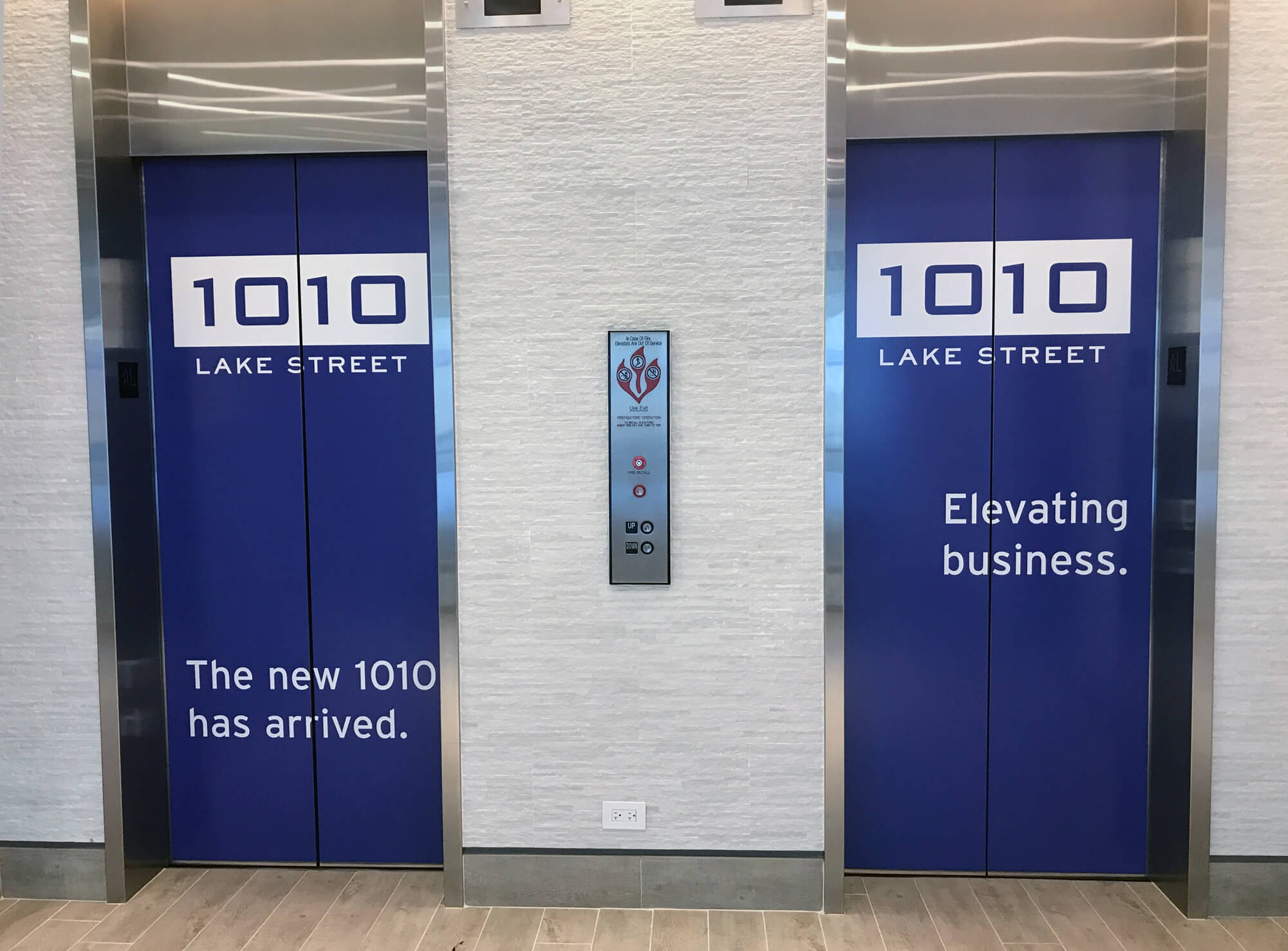 Renovated lobby at 1010 Lake Street, Oak Park, IL