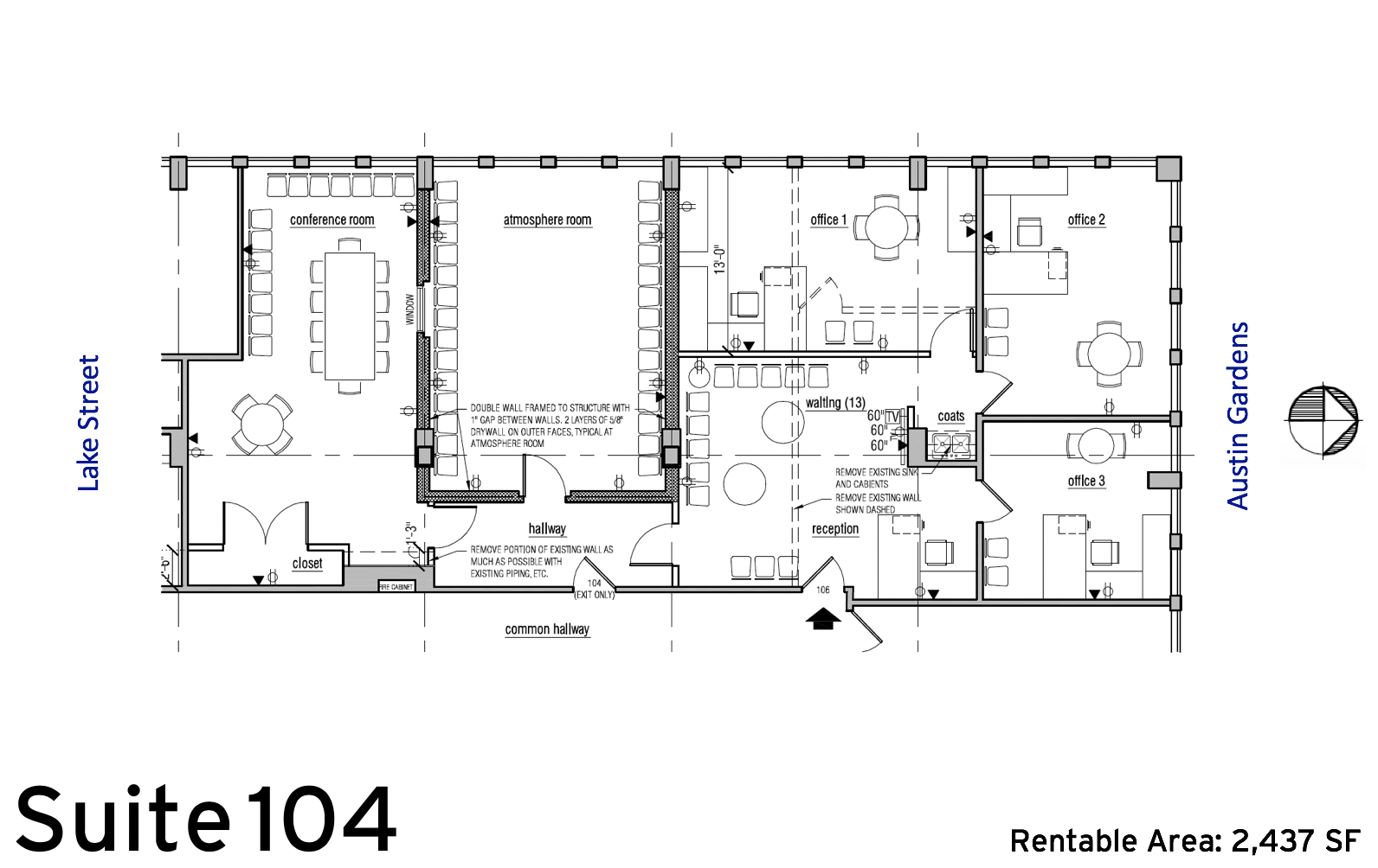 Suite 104 floor plan (2,437 SF) :: Available Oak Park, IL office space rentals: 1010 Lake Street, Oak Park, IL