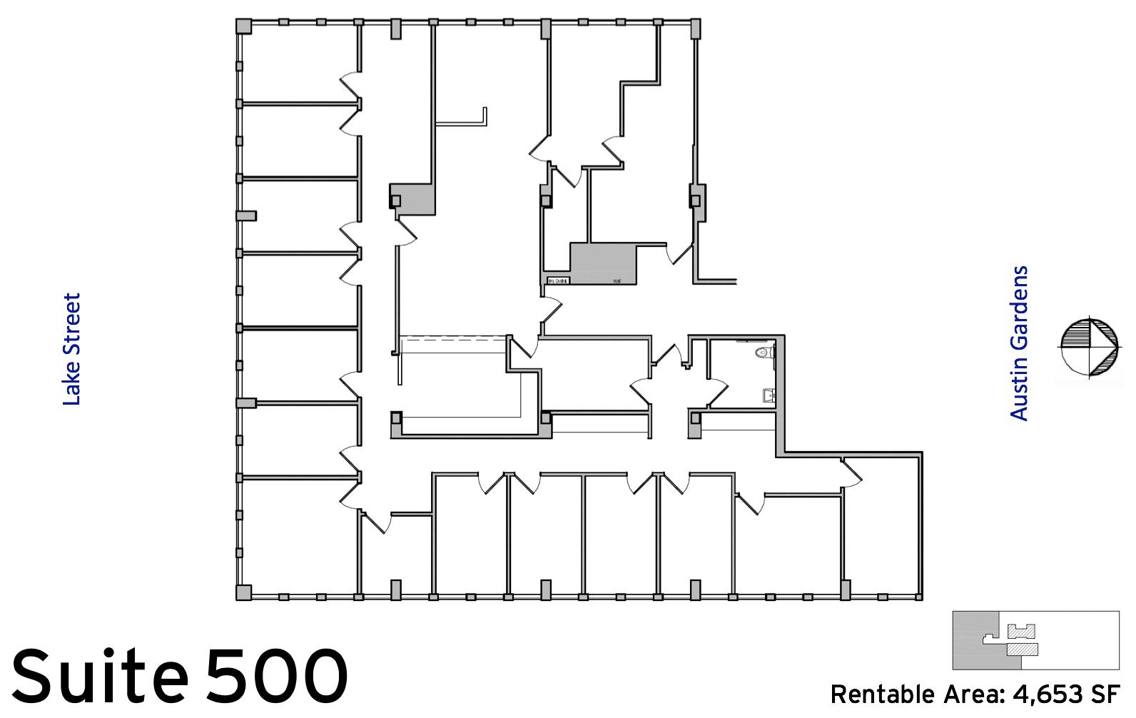Suite 500 floor plan (4,653 SF) :: Available Oak Park, IL office space rentals: 1010 Lake Street, Oak Park, IL